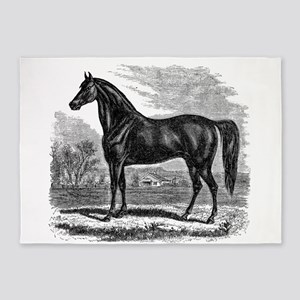 Vintage Horse Black White Horses 5'x7'Area Rug