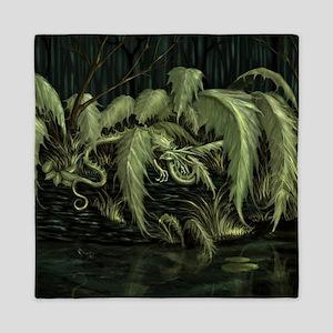 green leaf dragon Queen Duvet