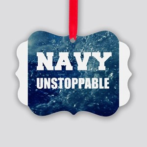 Navy Unstoppable Ornament
