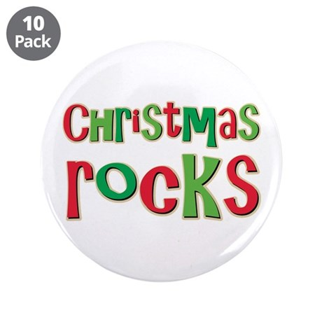 """Christmas Rocks Love Holiday 3.5"""" Button (10 pack)"""