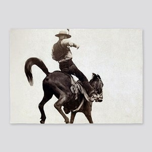 Vintage Rodeo Cowboy 5'x7'Area Rug