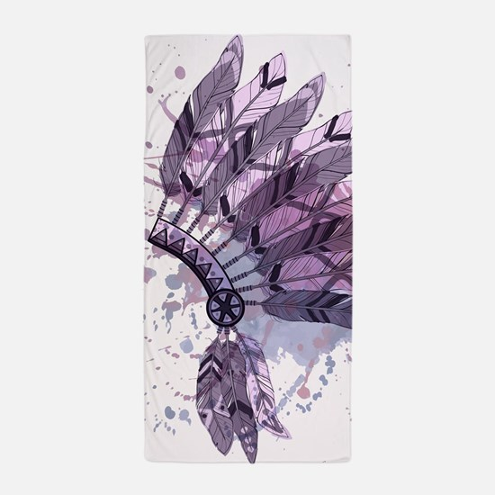 Purple Headdress Beach Towel