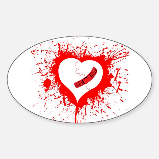 Broken Hearted again Oval Decal