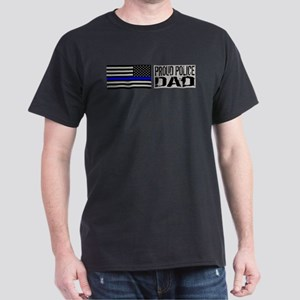 Police: Proud Dad (Black Flag Blue Line) T-Shirt