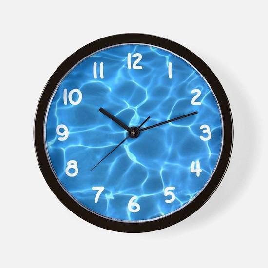 Aqua Blue Swimming Pool Wall Clock