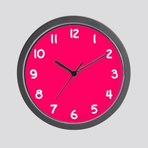 Hot Pink and White Wall Clock