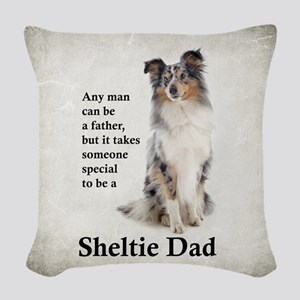 Sheltie Dad Woven Throw Pillow