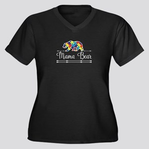 Autism Mama Bear Plus Size T-Shirt