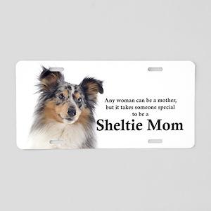 Blue Merle Sheltie Mom Aluminum License Plate