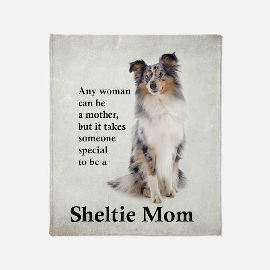 Blue Merle Sheltie Mom Throw Blanket