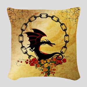 Cute, funny dragon Woven Throw Pillow