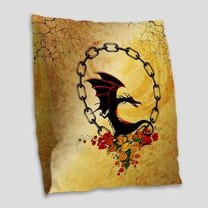 Cute, funny dragon Burlap Throw Pillow