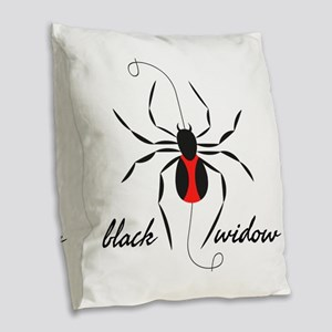 Black Widow Burlap Throw Pillow
