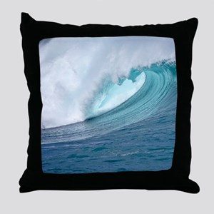 Waimea Bay Big Surf Hawaii Throw Pillow