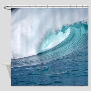 Waimea Bay Big Surf Hawaii Shower Curtain
