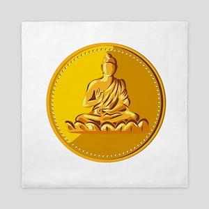 Buddha Gold Coin Medallion Retro Queen Duvet