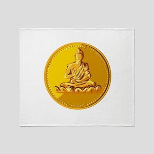 Buddha Gold Coin Medallion Retro Throw Blanket