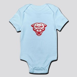 Angry Cougar Mountain Lion Head Retro Body Suit