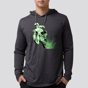 Green Dirtbike Wheeling in Mud Long Sleeve T-Shirt