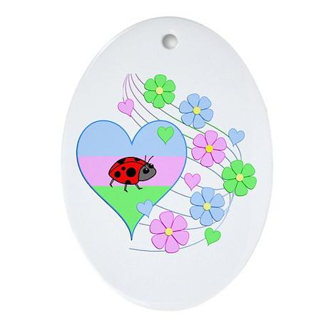 Fun Ladybug Heart Oval Ornament