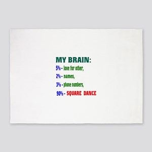 My Brain, 90% Square dance 5'x7'Area Rug