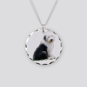 old english sheepdog puppy sitting Necklace