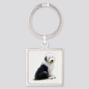 old english sheepdog puppy sitting Keychains