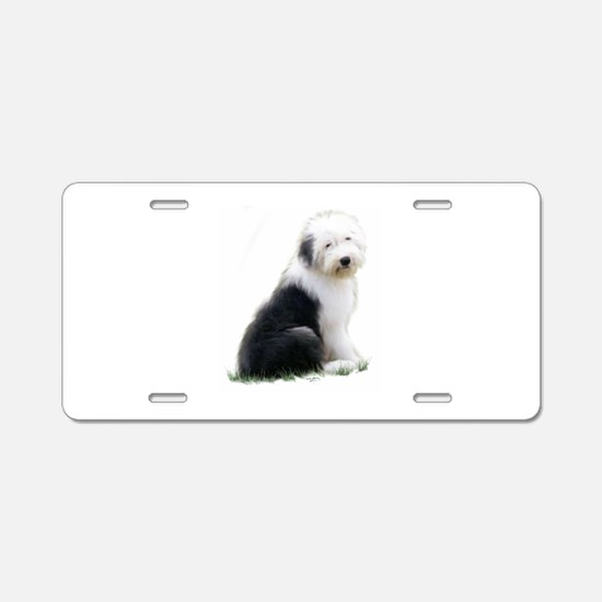 old english sheepdog puppy sitting Aluminum Licens