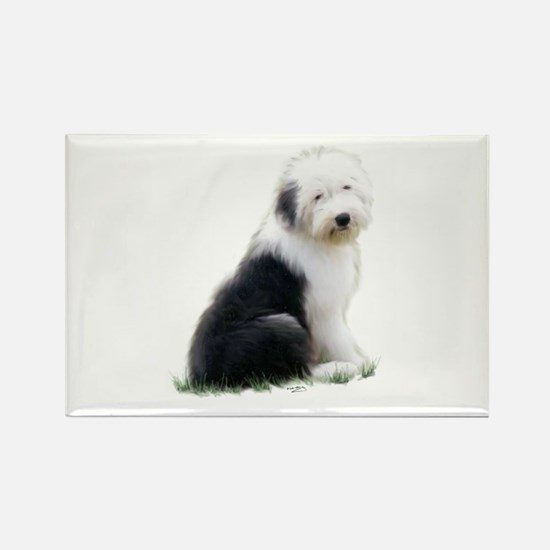 old english sheepdog puppy sitting Magnets