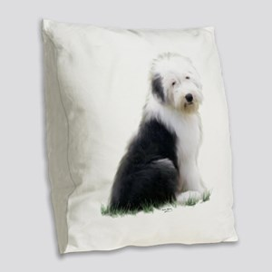 old english sheepdog puppy sitting Burlap Throw Pi