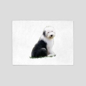 old english sheepdog puppy sitting 5'x7'Area Rug
