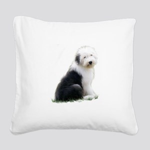 old english sheepdog puppy sitting Square Canvas P