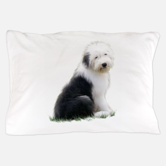 old english sheepdog puppy sitting Pillow Case