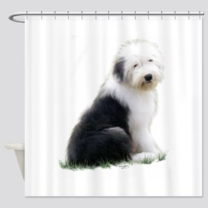 old english sheepdog puppy sitting Shower Curtain