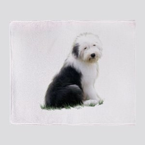 old english sheepdog puppy sitting Throw Blanket