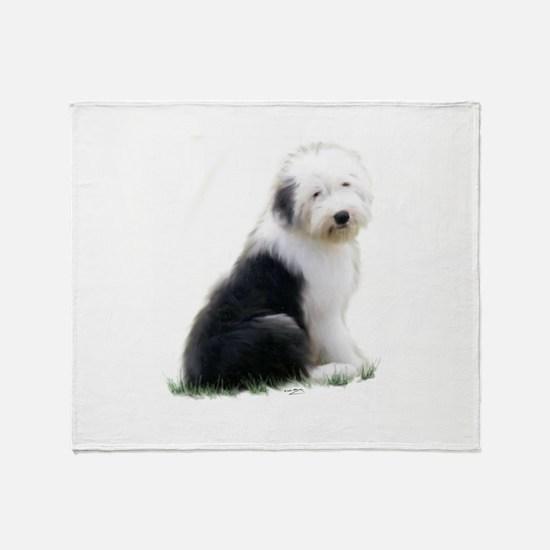 old english sheepdog puppy sitting Throw Blanket