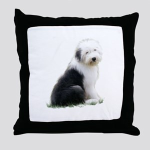 old english sheepdog puppy sitting Throw Pillow