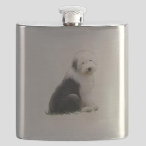 old english sheepdog puppy sitting Flask
