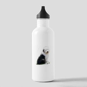 old english sheepdog puppy sitting Water Bottle