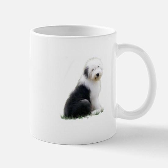 old english sheepdog puppy sitting Mugs