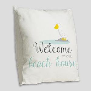 Beach House Burlap Throw Pillow