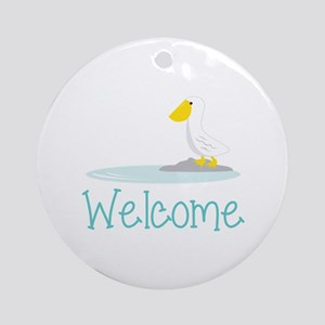 Pelican Welcome Round Ornament