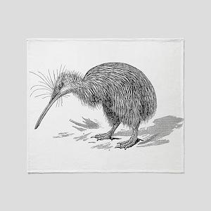 Vintage Kiwi Bird New Zealand Birds Throw Blanket