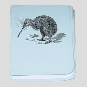 Vintage Kiwi Bird New Zealand Birds B baby blanket