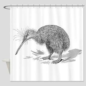 Vintage Kiwi Bird New Zealand Birds Shower Curtain