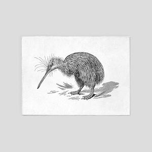 Vintage Kiwi Bird New Zealand Birds 5'x7'Area Rug