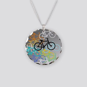 Colored Bikes Design Necklace Circle Charm