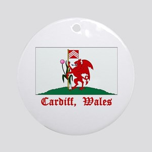 Cardiff Wales Flag Ornament (Round)