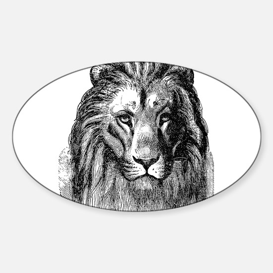 Vintage Lion Head Lions Black White Decal