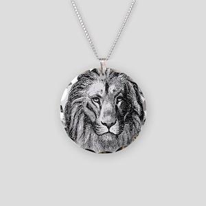 Vintage Lion Head Lions Blac Necklace Circle Charm